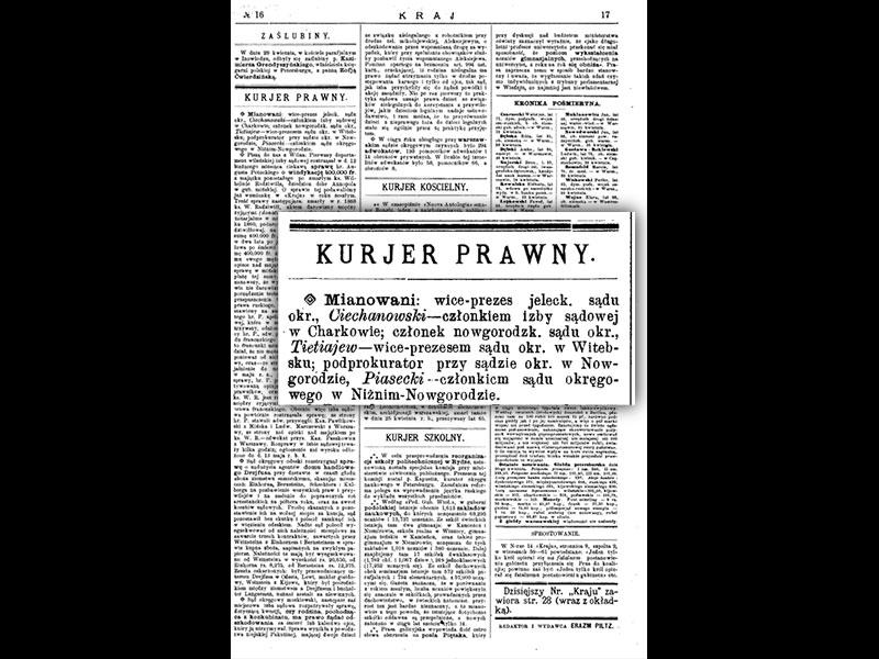 """Extrait de """"KRAJ"""", 1894"""